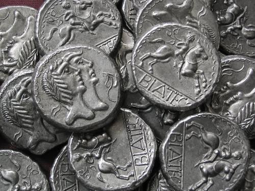 Tetradrachma cín | Keltové (1. stol. př. Kr.) Podunají | replika mince