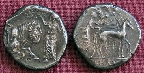 Tetradrachma stříbro 999 | Gela (440-430 př. Kr.) Řecko | replika mince