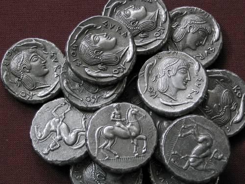 Didrachma cín | Syrakusy (474-450 př. Kr.) Řecko | replika mince