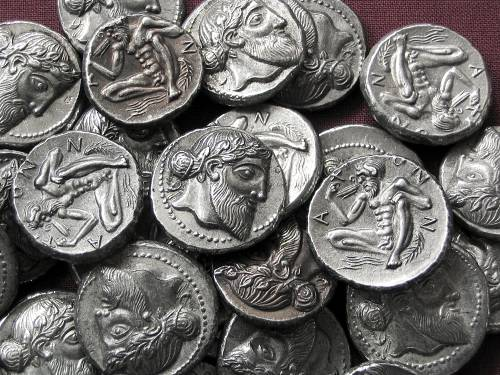 Didrachma cín | Naxos (461-430 př. Kr.) Řecko | replika mince