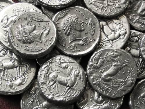 Tetradrachma cín | Leontinoi (asi 480 př. Kr.) Řecko | replika mince