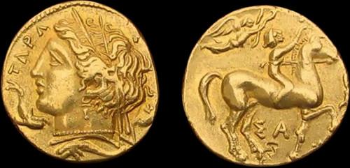 1-3 Statéru zlato 999 | Tarent (344-334 př. Kr.) Řecko | replika mince