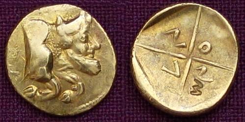 1 a 1/3 litra zlato 999 | Gela (5. stol. př. Kr.) Řecko | replika mince