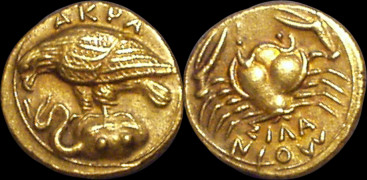 Diobol zlato 999 | Akragas (413-406 př. Kr.) Řecko | replika mince
