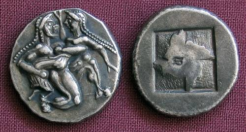 Statér stříbro 999 | Thasos (510-490 př. Kr.) Řecko | replika mince