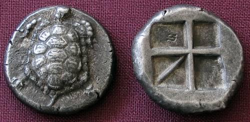 Statér stříbro 999 | Aigina (404-340 př. Kr.) Řecko | replika mince