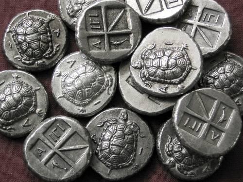 Statér cín | Aigina (404-340 př. Kr.) Řecko | replika mince