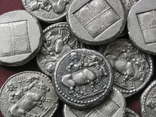 Oktodrachma cín | Oreskiové (475-465 př. Kr.) Řecko | replika mince