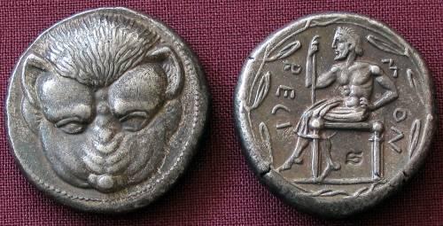 Tetradrachma stříbro 999 | Rhegion (466-415 př. Kr.) Řecko | replika mince