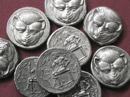 Tetradrachma cín | Rhegion (466-415 př. Kr.) Řecko | replika mince