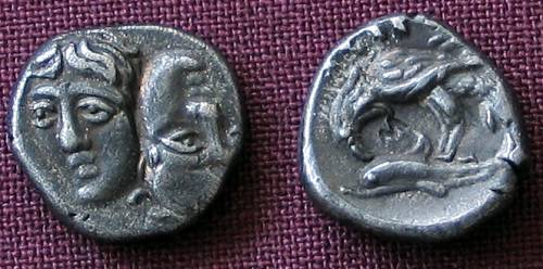 Trihemiobol stříbro 999 | Istros (400-320 př. Kr.) Řecko | replika mince