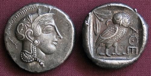 Tetradrachma stříbro 999 | Athény (455-449 př. Kr.) Řecko | replika mince