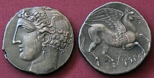 Dekadrachma stříbro 999 | Punové na Sicilíi (270-260 př. Kr.) Řecko | replika mince