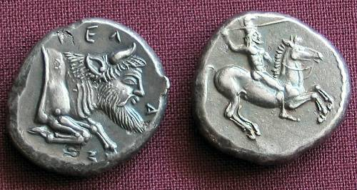 Didrachma stříbro 999 | Gela (465-450 př. Kr.) Řecko | replika mince