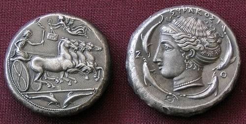 Tetradrachma stříbro 999 | Syrakusy (asi 410 př. Kr.) Řecko | replika mince