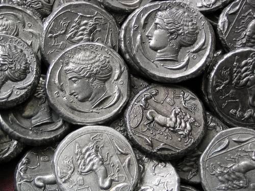Tetradrachma cín | Syrakusy (asi 410 př. Kr.) Řecko | replika mince