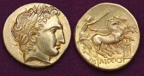 Statér zlato 999 | Filip II. (359-336 př. Kr.) Řecko | replika mince