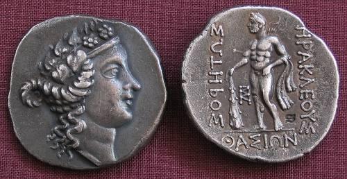 Tetradrachma stříbro 999 | Thasos (asi 148 př. Kr.) Řecko | replika mince