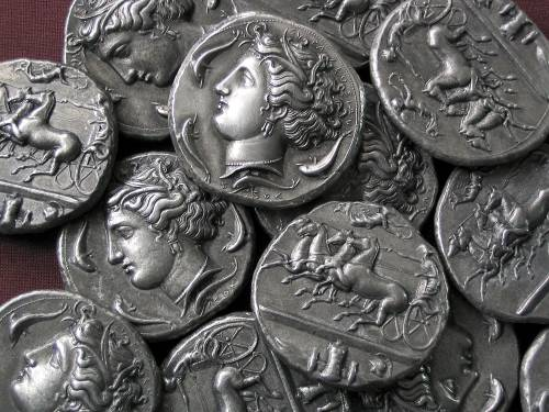 Dekadrachma cín | Syrakusy (405-380 př. Kr.) Řecko | replika mince