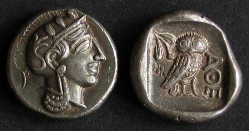 Drachma stříbro 999 | Athény (5. stol. př. Kr.) Řecko | replika mince