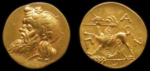Statér zlato 999 | Pantikapaion (5. stol. př. Kr.) Řecko | replika mince