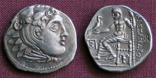 Drachma stříbro 999 | Alexandr Veliký (posmrtná ražba) Řecko | replika mince