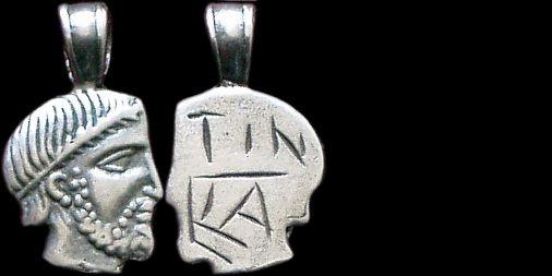 Přívěsek stříbro 925 | Hlava etruského boha (4. stol. př. Kr.) Etrurie | replika