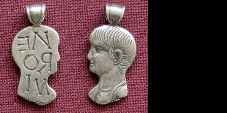 Přívěsek stříbro 925 | Hlava mladého Nera (1. stol. po Kr.) Řecko | replika