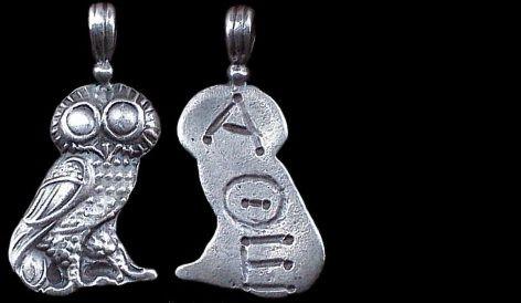 Přívěsek stříbro 925 | Přívěsek bohyně Athény (4. stol. př. Kr.) Řecko | replika