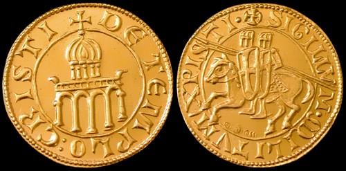Dukát zlato 999 | Templářský dukát (2011) Limitované vydání 300 ks | replika mince