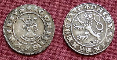 Půlgroš stříbro 999 | Jan Lucemburský (1310-1346) Čechy | replika mince