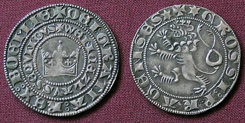 Pražský groš stříbro 999 | Václav II. (1278-1305) Čechy | replika mince