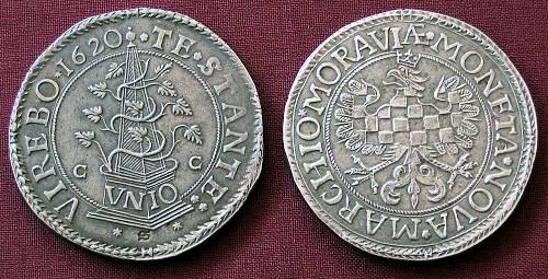Tolar stříbro 999 | Moravské evangelické stavy (1620-1621) Morava – Olomouc | replika mince
