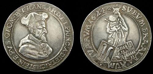 Tolar stříbro 999 | František Dietrichstein (1599-1636) Morava – Brno | replika mince