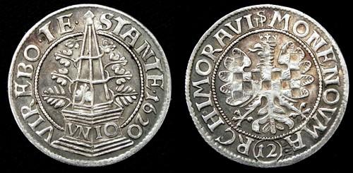 12krejcar stříbro 999 | Moravské evangelické stavy (1620-1621) Morava – Brno | replika mince