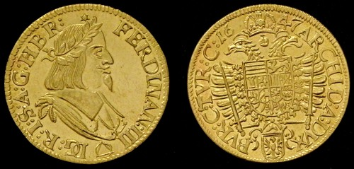 Dukát mosaz | Ferdinand III. (1637-1657) Morava – Brno | replika mince