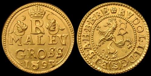 Malý groš 1606 zlato 999 | Rudolf II. (1576-1611) Čechy | replika mince