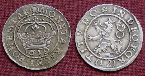 12krejcar stříbro 999 | České evangelické stavy (1619) Čechy | replika mince