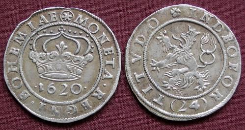 24krejcar stříbro 999 | České evangelické stavy (1620) Čechy | replika mince