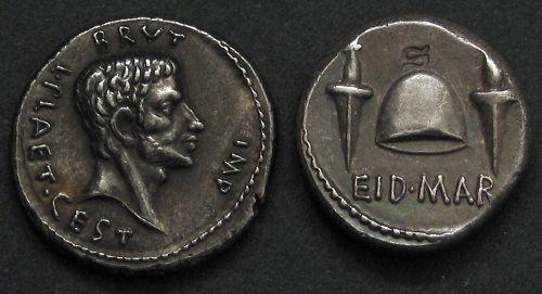 Denár stříbro 999 | Brutus (85-42 př. Kr.) Řím | replika mince