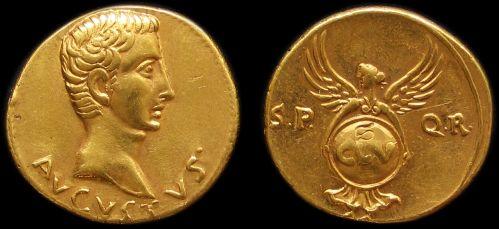 Aureus zlato 999 | Augustus (27 př. Kr.-14 po Kr.) Řím | replika mince