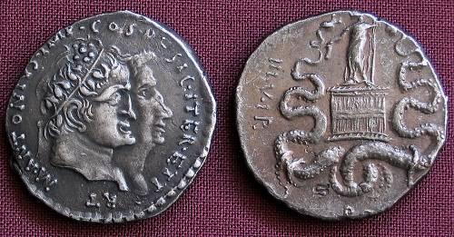 Cistoforus stříbro 999 | M. Antonius a Oktavia (39 po Kr.) Řím | replika mince
