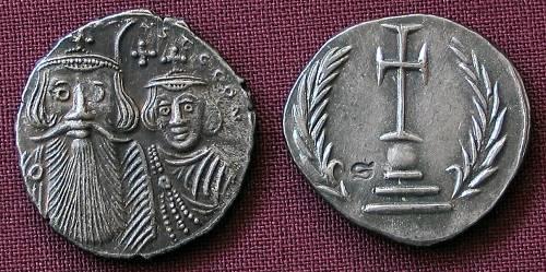 Miliarense stříbro 999 | Konstans II. a Konstantin IV. (641-668 po Kr.) Byzanc | replika mince