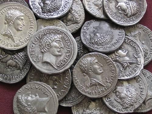 Denár cín | M. Antonius a Kleopatra (34 př. Kr.) Řím | replika mince