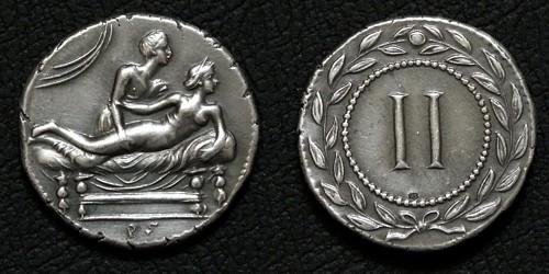Spintrie II. stříbro 999 | erotický žeton (1. stol. po Kr.) Řím | replika mince