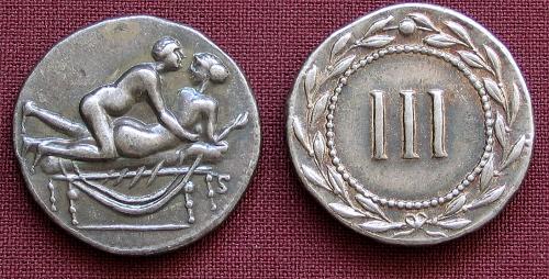 Spintrie III. stříbro 999 | erotický žeton (1. stol. po Kr.) Řím | replika mince