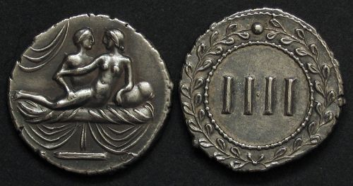 Spintrie IIII. stříbro 999 | erotický žeton (1. stol. po Kr.) Řím | replika mince