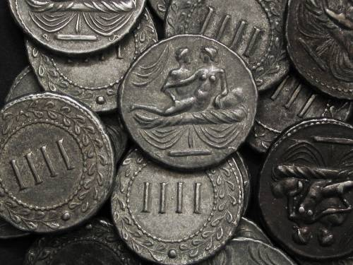 Spintrie IIII. cín | erotický žeton (1. stol. po Kr.) Řím | replika mince