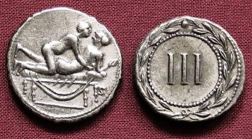 Spintrie III. cín | erotický žeton (1. stol. po Kr.) Řím | replika mince