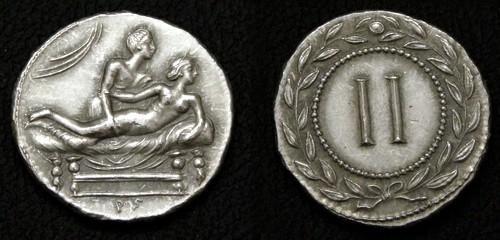 Spintrie II. cín | erotický žeton (1. stol. po Kr.) Řím | replika mince